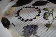 Grounded Bone Witch Bracelet with Garnet Obsidian and Garnet, Bones, Witch, Beaded Bracelets, Etsy, Jewelry, Grenada, Jewellery Making, Jewerly