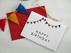 £2.00 bithday card with tiny bunting, so cute!