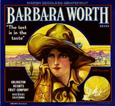 Barbara Worth Brand - Orange Crate Label - Arlington Heights, California. The Winning of Barbara Worth by Harold Bell Wright, the 1926 silent film based on a 1911 best-seller is about an engineer who vies with a cowboy for the affections of a rancher's daughter, while building an irrigation system in southern California's Imperial Valley.