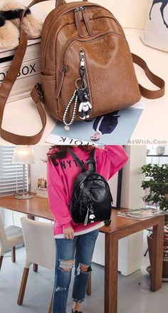 Retro Soft PU Multi Zippers School Leisure College Lady Waterproof Lightweight Backpack for big sale! #backpack #bag #retro #brown