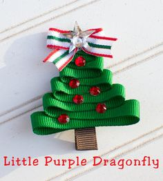 Christmas Tree Hair Clip Bow by LittlePurpleDragonfl on Etsy, $3.99