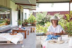 """""""Mi hermana siempre vivió en Lobos con su familia. Ella cosía y yo vendía en Areco, en nuestra tienda H&H Garrett. Voy a cerrar la tienda al público y seguir vendiendo privadamente, porque todo no puedo. Pero se va a seguir llamando siempre H&H. Ella está presente en mi vida permanentemente"""".  Foto:Living /Magalí Saberian Panama Hat, Shed, Exterior, Gift, Amor, Cottage, Recycled House, Large Sheds, Houses"""