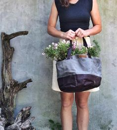Waxed Canvas Bucket Tote Bag by Anhaica Bagworks on Scoutmob Shoppe