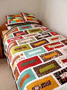 'Brick wall' quilt and pillows finished (3) by ShapeMoth, via Flickr