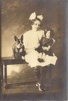 Boston-Terrier-Dog-with-Girl-amp-Big-Doll-Vintage-Studio-Photograph-Chicago-c1915