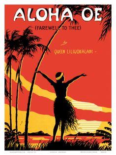 Aloha Oe (Farewell to Thee) - Famous Song by Queen Lili'uokalani (Liliuokalani) of Hawai'i - Vintage Sheet Music by LeMorgan - Hawaiian Fine Art Print - x Hawaiian Art, Vintage Hawaiian, Aloha Vintage, Vintage Retro, Hawaiian Tropic, Vintage Tiki, Vintage Music, Vintage Style, Tahiti