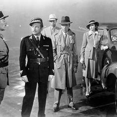"Claude Rains, Humphrey Bogart, Ingrid Bergman and Paul Henreid in a scene from the 1942 classic film ""Casablanca"" Ingrid Bergman, Humphrey Bogart, Turner Classic Movies, Classic Films, See Movie, Movie List, Old Movies, Great Movies, Amazing Movies"
