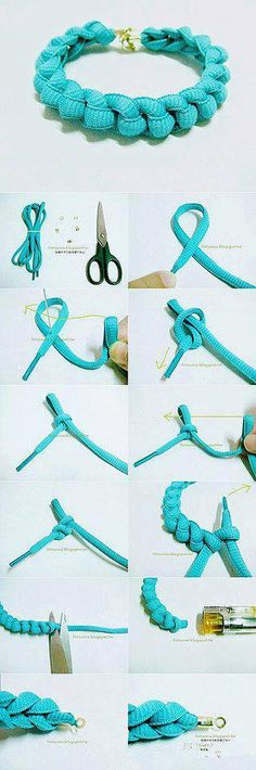 Need to make these for my sisters me and as lucky charms <3 From: http://easyhomestead.blogspot.de/2012/09/bracelet-from-shoe-laces.html