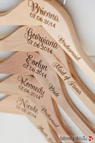 Nina Renee Designs: {Bridesmaid's Gift} Engraved Wooden Hangers by Delovely Details