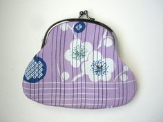 Purple kiss lock frame purse Small pouch Cosmetic bag by WAYOKO
