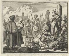 Jan Luyken | Gezusters Maria en Ursula van Beckum op de brandstapel te Delden, 1544, Jan Luyken, 1685 |
