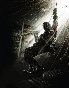 I like this photo because the action is exciting and explosive. It attracts my eye through the contrast of the bright and dark colours. and the main focus the man swinging. Black Ops 1, Future Soldier, Call Of Duty Black, Gi Joe, Dark Colors, Soldiers, Game Art, Cod, Cyber