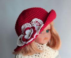 Puppenhut-18-19cm-Kopfumfang-NEU-Handarbeit-Sommermuetze-Haekelblueme-Doll-bjd-Hat