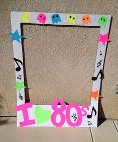 Back drop for photo booth. Take a poster and cut it out in the shape of a poloraid. Paint bottom black then hang on wall. Add cutouts to sides. Then evyerone can take a selfie Disco Party, Neon Party, 80s Birthday Parties, Birthday Party Themes, 30th Birthday, 70s Theme Parties, Birthday Ideas, 90s Party Decorations, Decade Party