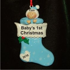 Baby Boy in Stocking - Personalized First Christmas Ornament