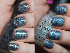"""China Glaze """"Concrete Catwalk"""" and """"Snow Globe"""" with Seche Vite topcoat (left) and Essie """"Matte About You"""" (right)"""