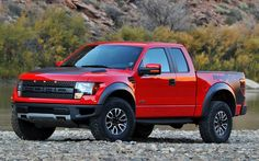 Red and Black Ford SVT F-150 Raptor Truck