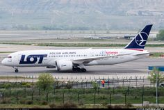 LOT Polish Airlines Boeing 787-8 Dreamliner taxiing at Madrid-Barajas International Airport (operating under wet lease for Air Europa during that airline's fleet troubles, as can be denoted by the Air Europa titles on the rear fuselage)