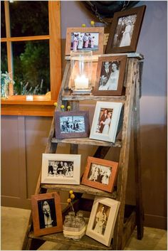 Put All Your Pictures on a Vintage Ladder