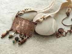 Etched copper alpha numeric necklace by DragonflyDreamers on Etsy, $46.00