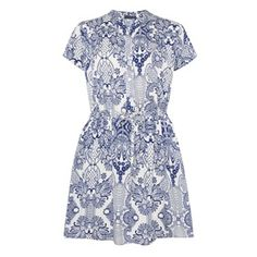 Blue & white paisley shirt dress £10.00