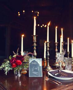 skinny candlestick decor, Sleepy Hollow-inspired inspiration shoot