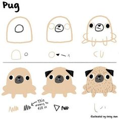 How to draw a pug using very basic shapes like Ed Emberley style.