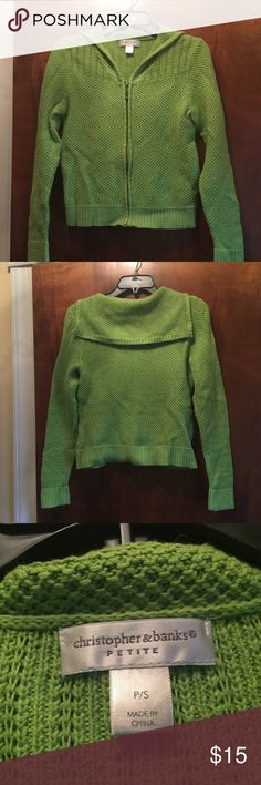 Christopher & Banks cardigan sweater Like new lime green sweater. Goes great with denim. In great condition. Pictured with skirts in my closet: Denim Vivaldi and C & B skirt. Christopher & Banks Sweaters Cardigans