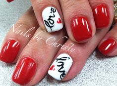 Red Hot Love Valentine Shellac Nails Christy @ Mane Tamers