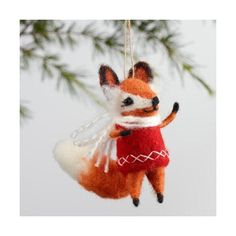 Cost Plus World Market Wool Vest Fox Ornaments Set of 4 ($32) ❤ liked on Polyvore featuring home, home decor, holiday decorations, wool ornaments, holiday home decor, orange ornaments and grey ornaments