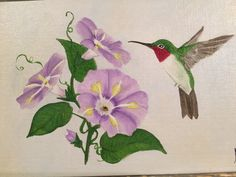 Oil on canvas board hummingbird with morning glories