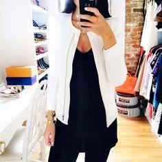 Chic white jacket.
