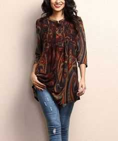 Look what I found on #zulily! Brown Paisley Notch Neck Pin Tuck Tunic #zulilyfinds
