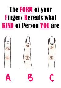 Health Discover The Form of your Fingers Reveals what KIND of Person YOU are. I am the finger C. Almond Joy Manicure Y Pedicure Palmistry Things To Know Weird Things Good To Know Health And Beauty Just In Case Fun Facts Lifehacks, Manicure Y Pedicure, Almond Joy, Thoughts And Feelings, Body Language, Things To Know, Weird Things, Understanding Yourself, Good To Know