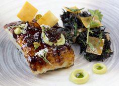 Chagrined black cod Marinade miso with kabayaki sauce. Hijiki avocado purée yolk sheet . . #armaniaqua #aquatokyo #foodstarz #foodart #foodstyling #foodphotography#aki #chefstalk #chef #cheflife #海#gastroart #seaweed#hkfood#healthy#avocado#foodie