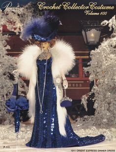 1911 Orient Express Dinner Dress Vol 100, Paradise Publications Crochet Fashion Doll Clothes Pattern Booklet P-111