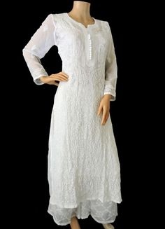 ISHIEQA's White Georgette Chikankari Kurti - DC1802C Net Kurti, Function Dresses, Angrakha Style, A Line Kurti, Cotton Anarkali, White Kurta, Embroidered Kurti, Kurta Neck Design, Indian Designer Suits