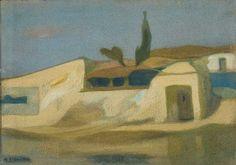 Σπίτια στην Αίγινα Greek Paintings, Greek Art, Painters, Painting & Drawing, Color Mixing, Landscape Paintings, Drawings, Envelopes, Greece