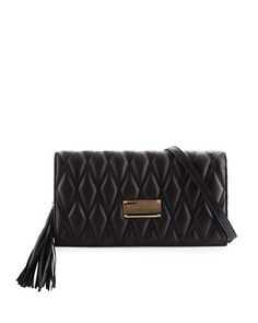 Lena D Quilted Leather Clutch Bag, Black
