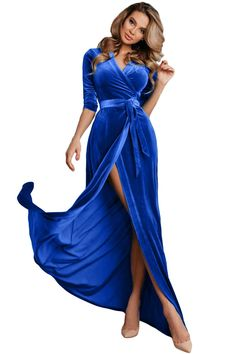 Blue Surplice V Neck Velvet Party Gown with Belt 70775b93e2d