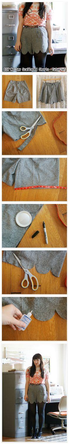 #DIY No-Sew #Scalloped #Shorts #Tutorial
