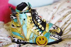 Wedge trainers in turquoise animal print from Office with chains by Shiny Thoughts in 'Smiley and Shiny'