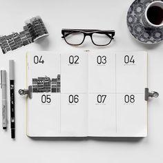 Bullet journal weekly layout,  minimalist daily headers, building drawing. | @colorfulblackrose