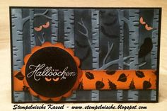 handmade Halloween card ... birches embossing folder ... luv the eyes and dark background with bats ... Stampin' Up!