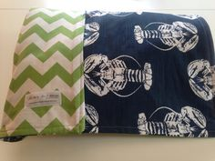 LOBSTERS & CHEVRON Family Size Reversible Blanket.  Great for picnics, the beach, anywhere!  Great gift idea!