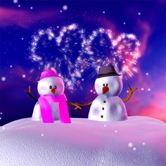 snowman couple and hearts gif