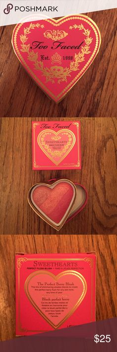 """Too faced perfect flush blush Too faced sweethearts perfect flush blush """"something about berry"""". Such a pretty blush but sadly not the color I'm use to buying. Brand new with box. When I opened it to see the color I ripped a little part so I taped it shown in picture Too Faced Makeup Blush"""