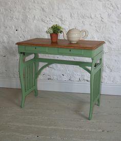Edwardian Oak Side Table - 'Folly green' F