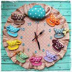 Wall kitchen clock Tea Set Coffee Clock Teapot and Teacups Tea Time Wall round. Mother's day gift. M Wall kitchen Tea Set Coffee Clock Teapot and Teacups Tea Felt Crafts, Fabric Crafts, Sewing Crafts, Diy And Crafts, Sewing Projects, Crafts For Kids, Kids Diy, Sewing Tips, Decor Crafts