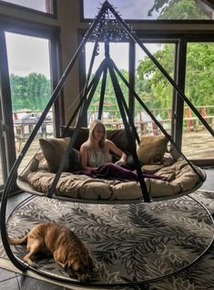 Flowerhouse Flying Saucer Chair Hammock with Stand/Wayfair Balcony Swing, Porch Swing, Backyard Hammock, Hammock Ideas, Outdoor Hammock Chair, Outdoor Swings, Outdoor Seating, Diy Hammock, Trampoline Swing